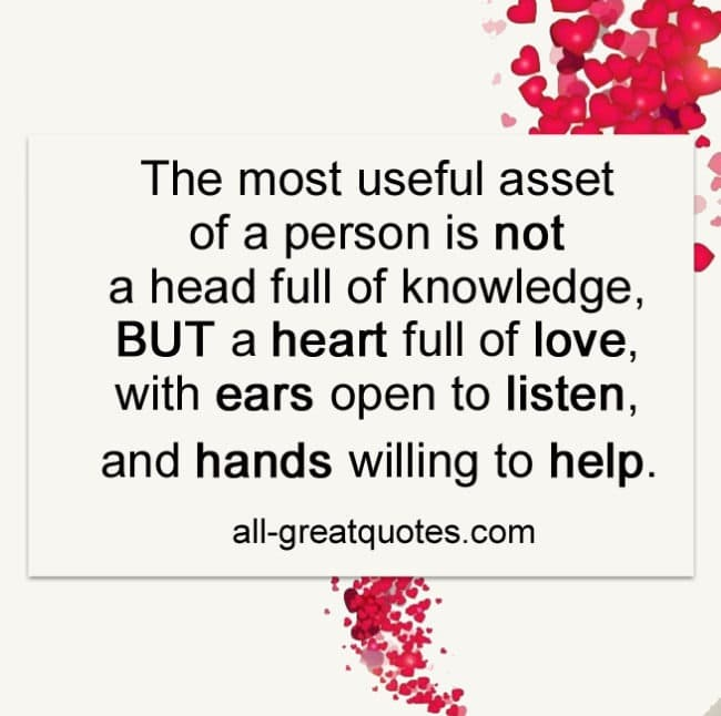 the most useful asset of a person is not a head full of knowledge PIC QUOTE