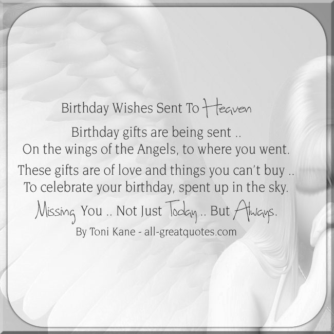 Birthday Wishes Sent To Heaven. Birthday In Heaven Card