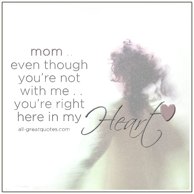 Meta description preview: Mom - Even though you're not with me on Mother's Day. You're right here in my heart card for Mother's Day In Heaven