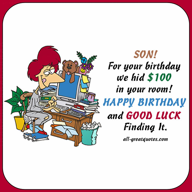 Wondrous Happy Birthday Son We Hid 100 In Your Room Personalised Birthday Cards Epsylily Jamesorg