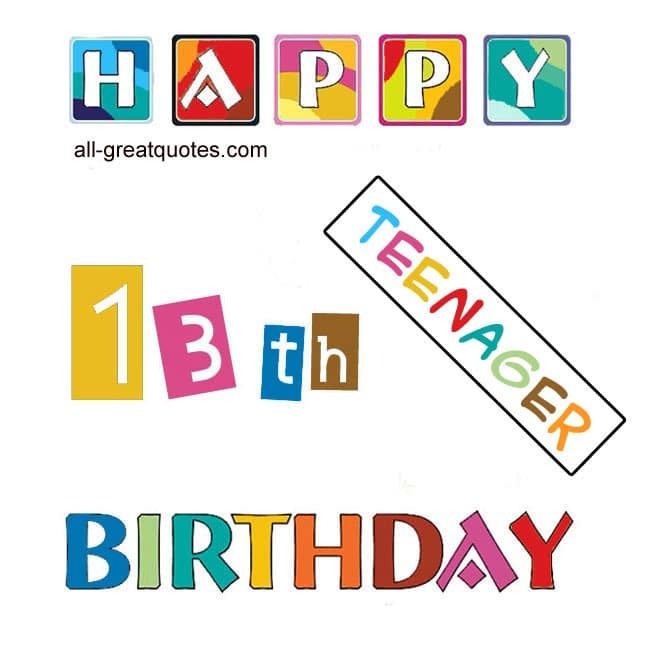 Happy 13th Birthday Free Cards – 13th Birthday Greetings