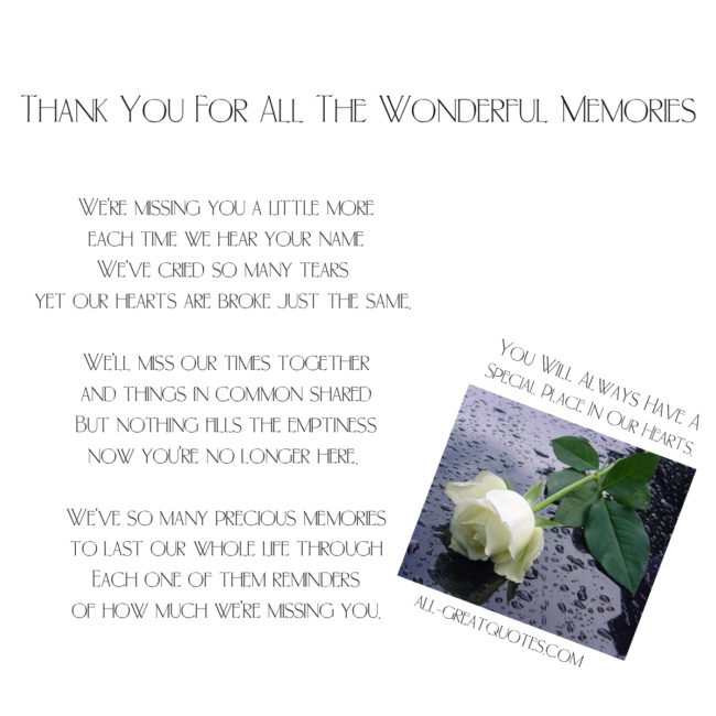 Thank You For All The Wonderful Memories Memorial Poem Cards Facebook Greeting Cards