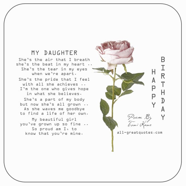 To My Daughter. Birthday Card. Daughter Poem