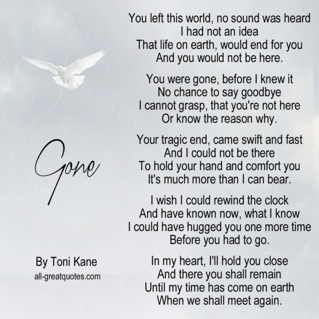 You left this world without a sound, I had not an idea Memorial Card Poem
