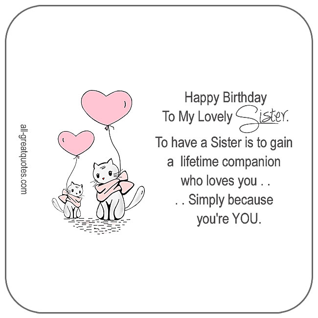 happy birthday to my lovely sister birthday cards for facebook