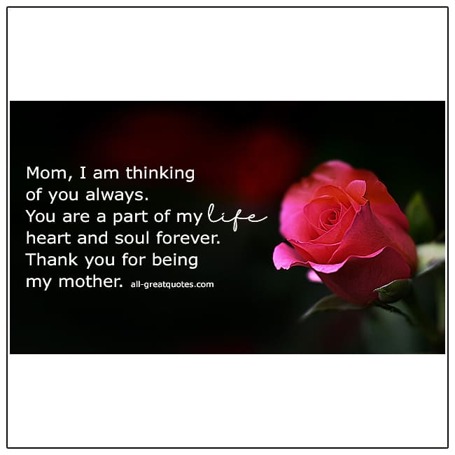 Mom I Am Thinking Of You Always Mothers Day In Heaven Cards