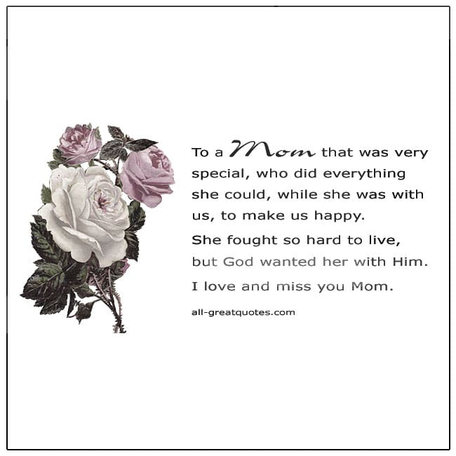 To A Mom That Was Very Special Card For Mother's Day In Heaven Rose Writing Paper