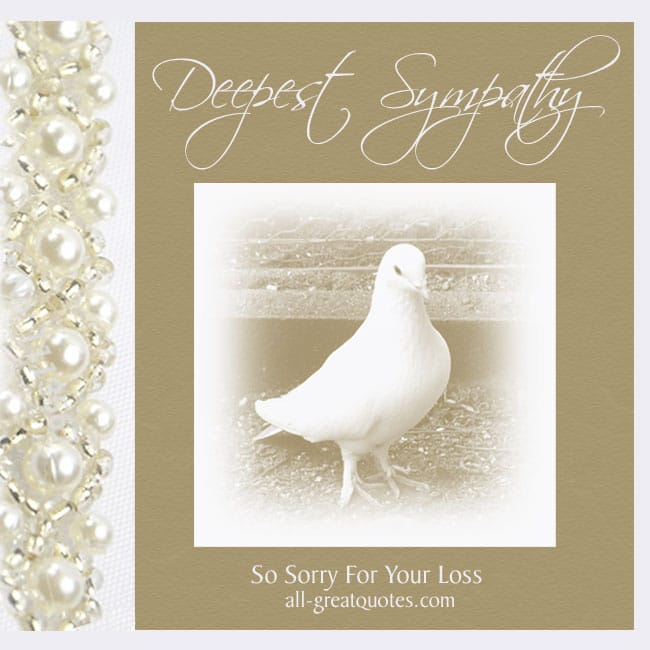 Deepest sympathy so sorry for your loss sympathy cards for