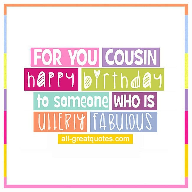 FOR YOU COUSIN Free Birthday Cards For Cousin – Birthday Cards Cousin