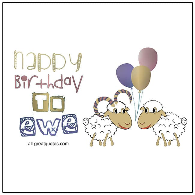 Happy Birthday To Ewe Fun Sheep Birthday Card For Facebook