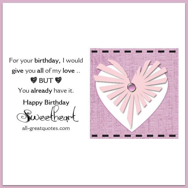 Free Birthday Cards Happy Birthday Sweetheart Cute Love Card