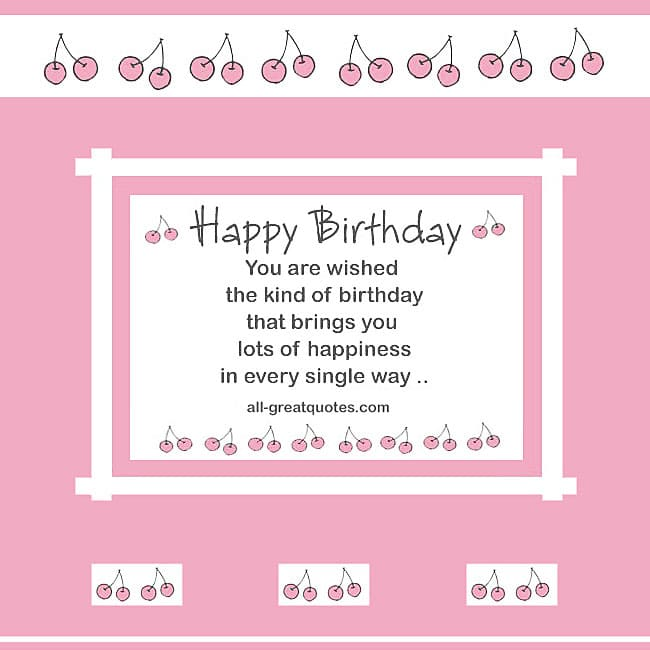 Birthday Card Pink With Cherries For Facebook