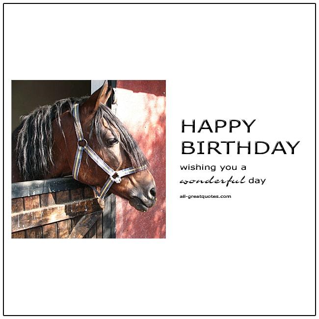Happy Birthday Wishing You A Wonderful Day Horse Birthday Card