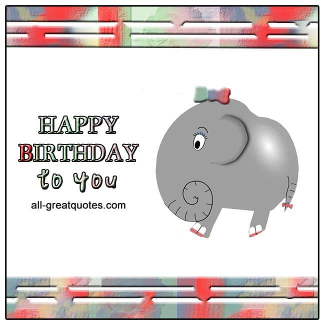 Happy birthday cute girl cartoon elephant card for Facebook