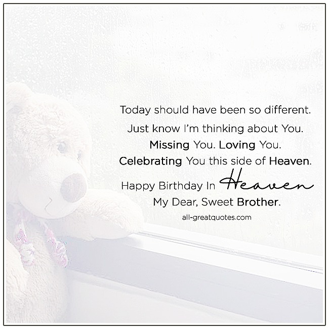 Happy Birthday In Heaven My Dear Sweet Brother In Heaven Birthday Card