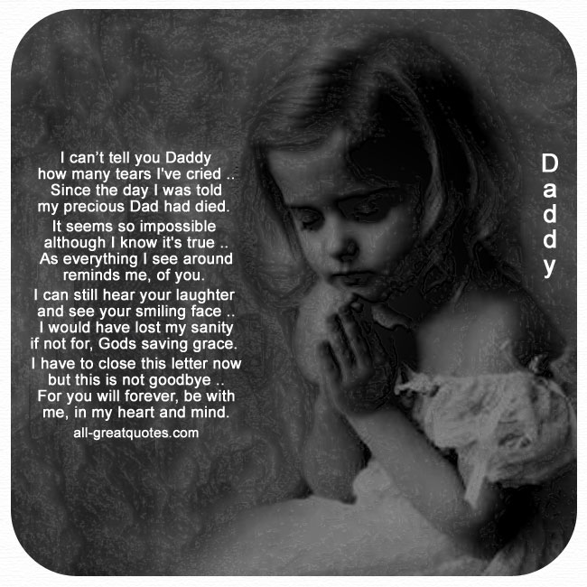 Grief loss poem about losing a father. Fathers Day Grief Card.