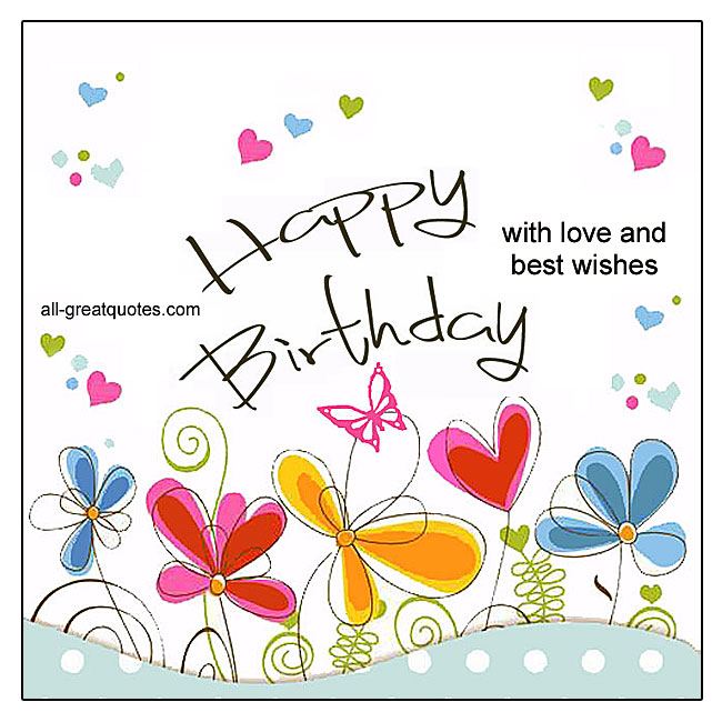 Happy Birthday With Love And Best Wishes Vector Butterfly Flower Heart Birthday Card