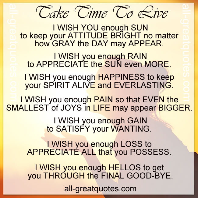 Appreciate Time Quotes: Take Time To Live
