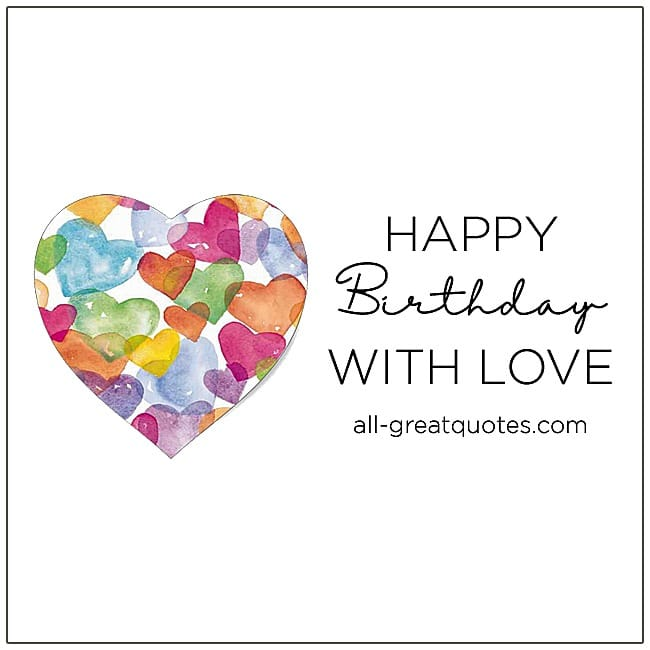 Happy Birthday With Love Free Cards For Facebook