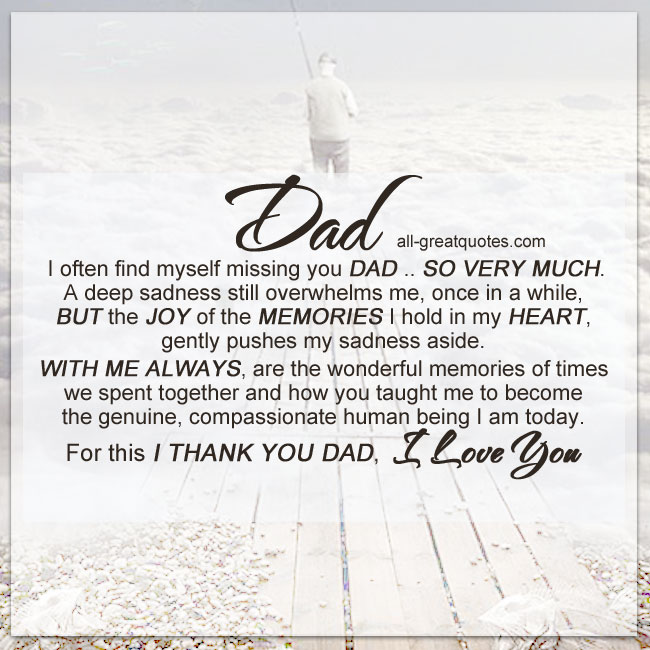 I often find myself missing you DAD | Missing Dad Cards