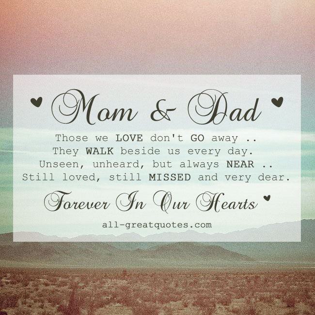 Those we love don't go away mom dad memorial card