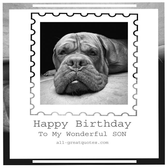 Happy Birthday To My Wonderful SON Free Cards For Sonbak
