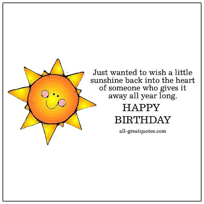Just wanted to wish a little sunshine | Free Birthday Cards