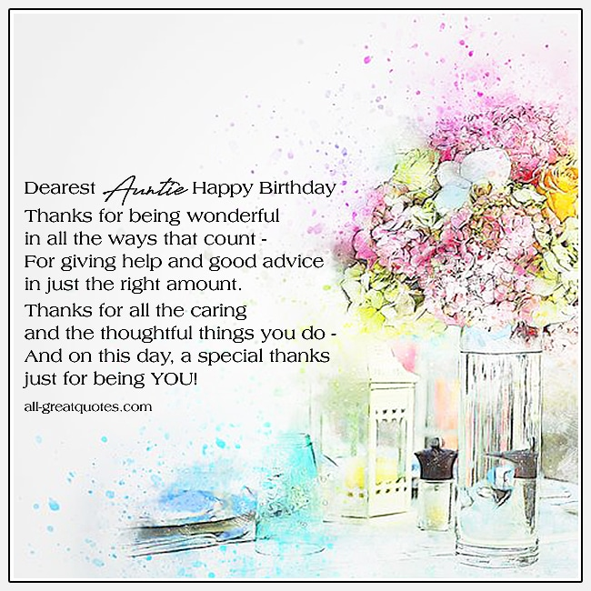 Dearest Auntie Happy Birthday Cards For Aunt