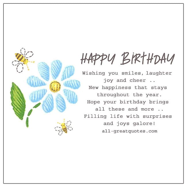 Happy Birthday Wishing You Smiles Laughter Joy And Cheer Birthday Cards