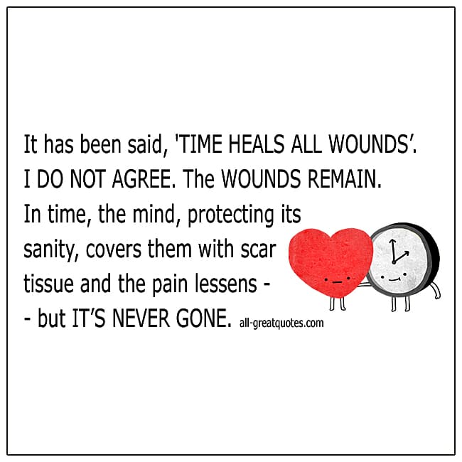 It Has Been Said That Time Heals All Wounds Grief Quote Cards