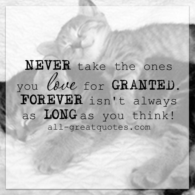 NEVER take the ones you love for GRANTED. FOREVER isn't always as LONG as you think!