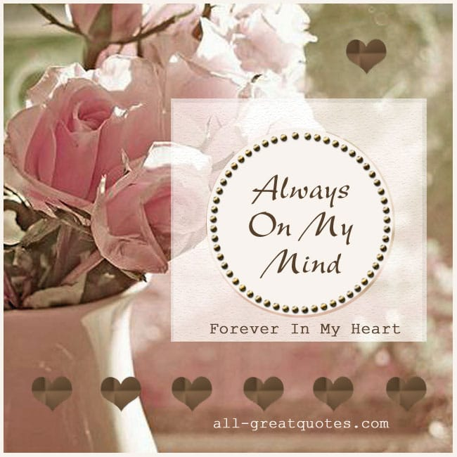 Grief Quote Cards | Always on my mind forever in my heart