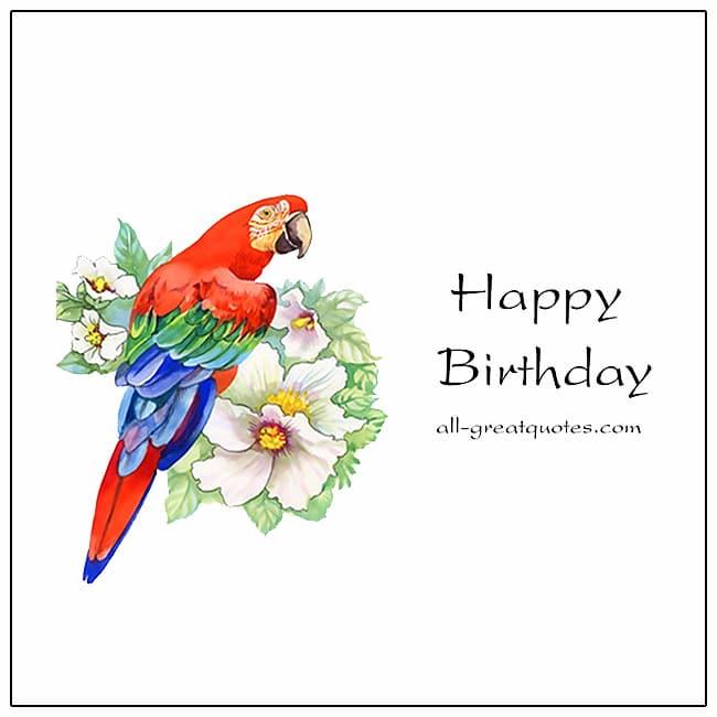 Happy Birthday Card With Bird Birthday Card