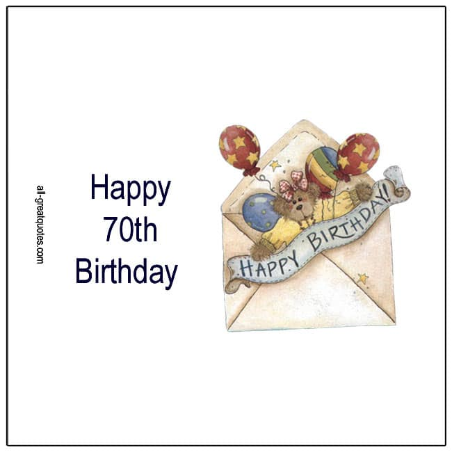 Happy 70th Birthday Free Age Related Birthday Cards
