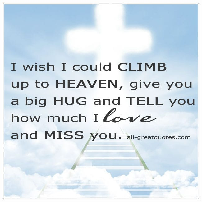I Wish I Could Climb Up To Heaven And Give You A Big Hug Grief Quotes
