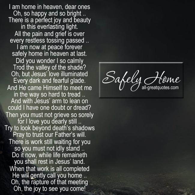 Safely Home | Grief Poems Card