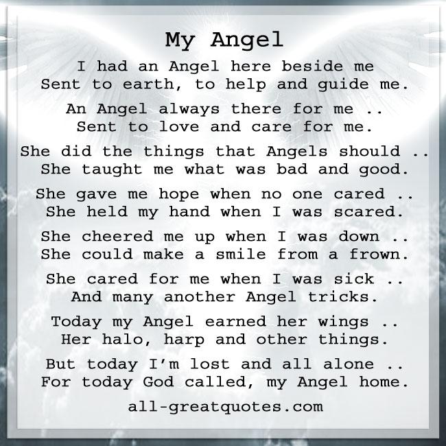 Memorial Angel Poem Cards | I had an Angel here beside me