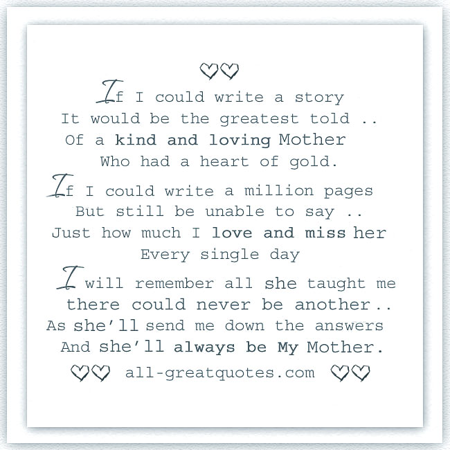 Memorial Cards For Mother   A kind and loving Mother