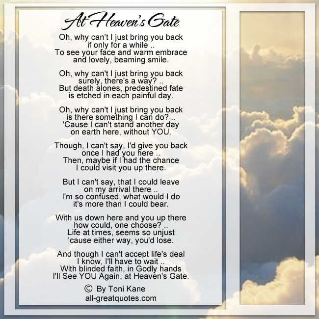 Memorial Poems I'll See You Again At Heaven's Gate - By Toni Kane
