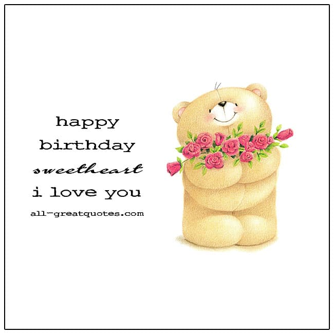 Happy Birthday Sweetheart I Love You Card For Facebook
