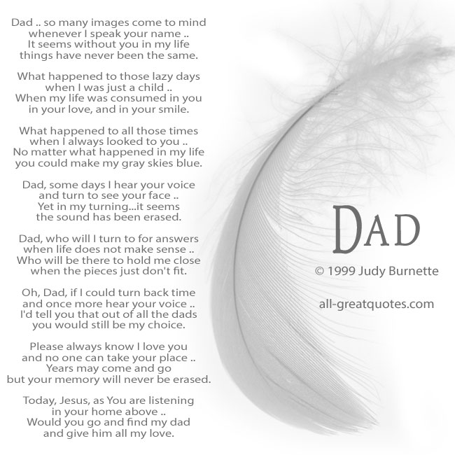 My Dad Dads And Father In Memory Of: Dad Memorial Poems © 1999 By Judy Burnette