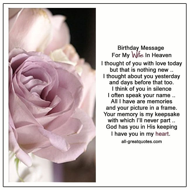 Birthday Message For My Wife In Heaven Card