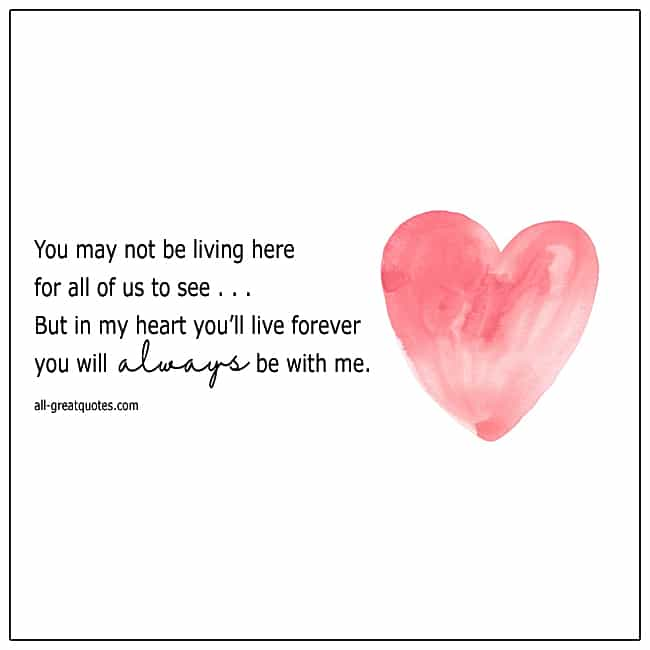 You May Not Be Living Here Grief Poem Card