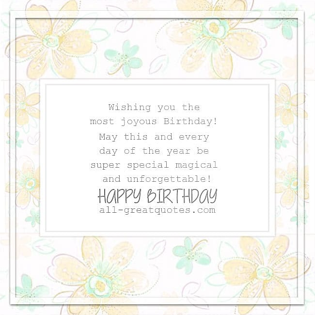 Wishing You The Most Joyous Birthday Card For Facebook