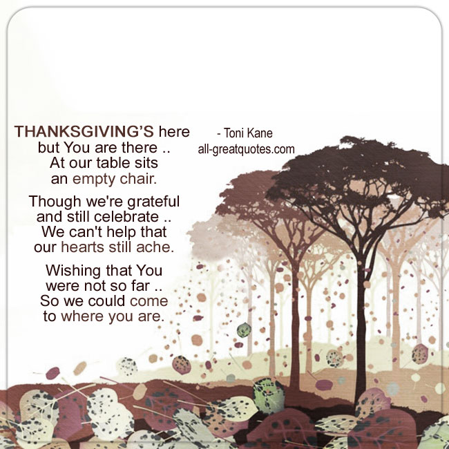 Missing Those In Heaven Thanksgiving Card - Verse By - Toni Kane