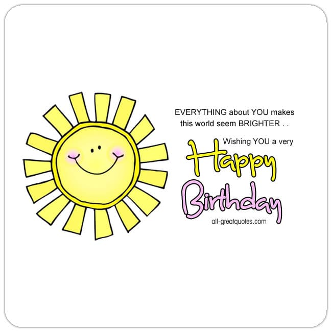 Bright Smiling Sun Picture Birthday Card For Facebook. Wishing you a very happy birthday.