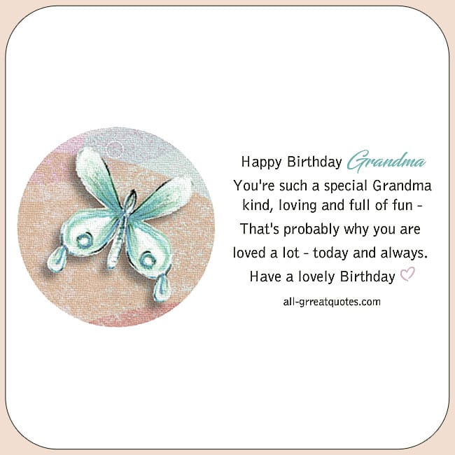 Birthday Cards For Grandmother. Image Bright colored hearts stars flowers butterflies. Reads Happy Birthday Grandma.