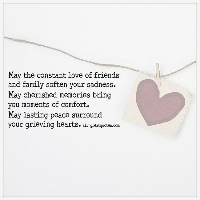 May Lasting Peace Surround Your Grieving Hearts Sympathy Card