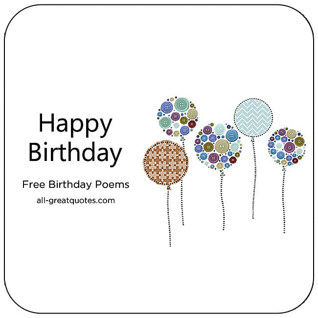 Free Birthday Poems Wishes For Birthday Cards For Facebook