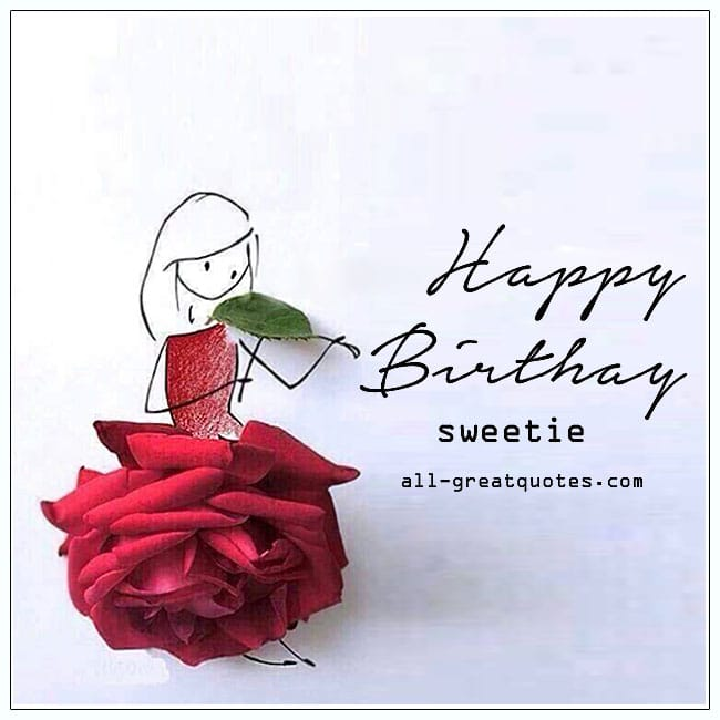 Happy Birthday Sweetie Cute Girls Birthday Card For Facebook.